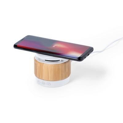 Bambusowy głośnik bezprzewodowy 3W, ładowarka bezprzewodowa 5W