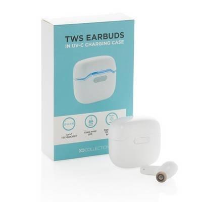 Bezprzewodowe słuchawki douszne w etui sterylizującym UV-C