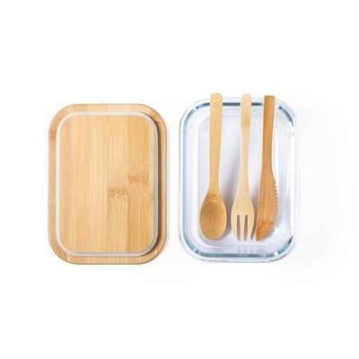 Szklane pudełko śniadaniowe 700 ml, bambusowe wieczko i sztućce